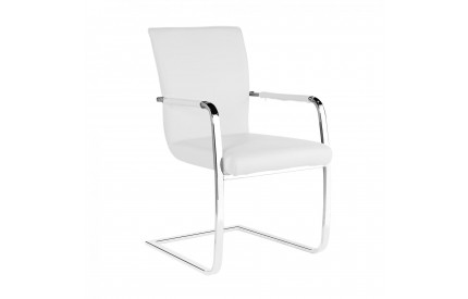 Una PU Arm Chairs Chrome & White (2s)