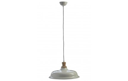 Norway Small Pendant Light Iron / Wood White
