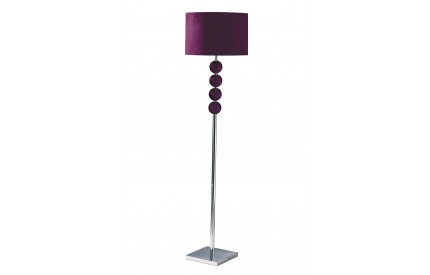 Mistro Floor Lamp Orb Feature / Chrome Base Purple Faux Suede Shade / UK Plug