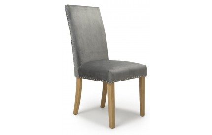 Randall Stud Detail Brushed Velvet Grey Dining Chair