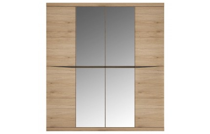 Kensington 4 Door Full Mirrored Wardrobe Oak