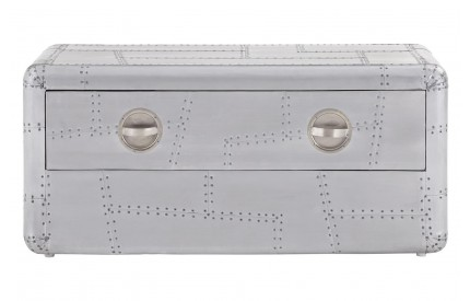 Aviator Coffee Table Aluminium 1 Drawer