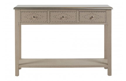 Manhattan Console Table 3 Drawers Stone Linen
