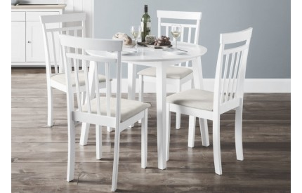 Contemporary Round White Extending Dining Set