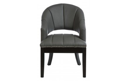 Dorchester Chair Grey Faux Leather Black Legs