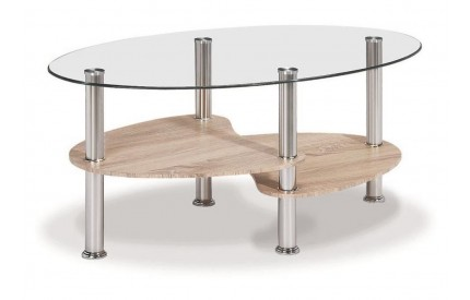 Oval Glass Coffee Table Natural Oak Finish