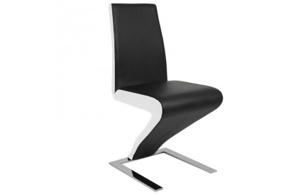 Conto Dining Chair Black White Leather Sides