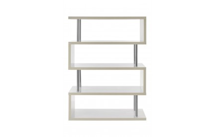 Contour 4 Tier Shelf Unit MDF / Stainless Steel White Gloss