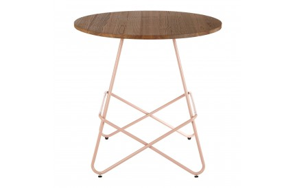 Precinct Round Table Pink Metal and Elm Wood