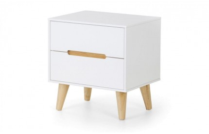 Alicia 2 Drawer Bedside Contemporary Matt Whiet