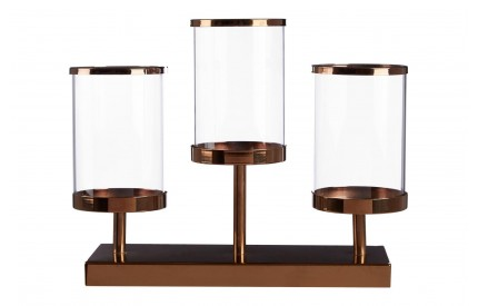 Buckingham Townhouse Triple Candle Holder Metal / Glass / Bronze Hurricane Design