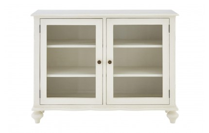 French 2 Door Glass Sideboard White Bayur Wood