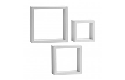 Wall Cubes Set of 3 White