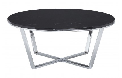 Premium Round Coffee Table Black Faux Marble Chrome