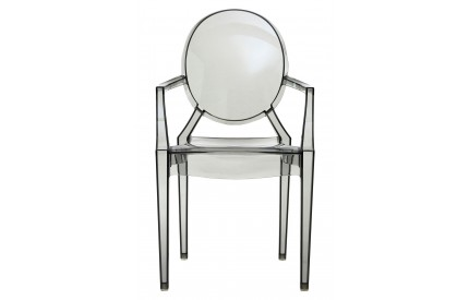 Louis Style Chair With Arms Transparent Grey Polycarbonate