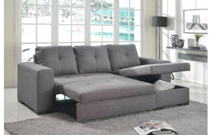 Mani Storage Chaise Sofa Bed Linen Grey