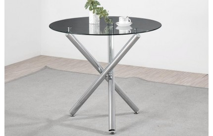 Alder Dining Table Chrome & Black Glass