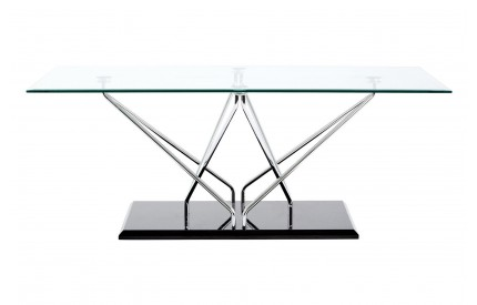 Grate Coffee Table Tempered Glass Cross Chrome & Black Base
