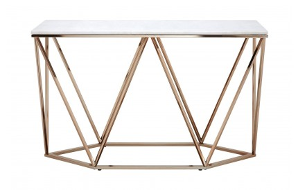Premium Rectangular Console Table White Faux Marble Champagne Gold