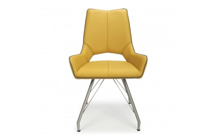 Mako Leather Match with Piping Yellow Dining Chair