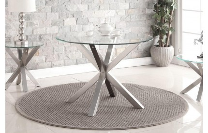 Mandala Dining Table Brushed Stainless Steel