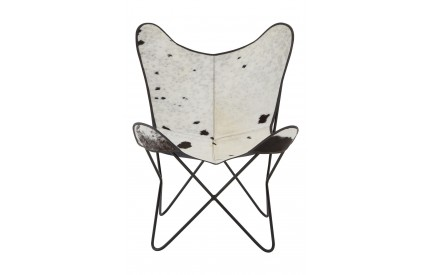 Buffalo Butterfly Chair Black Genuine Cowhide Iron Frame