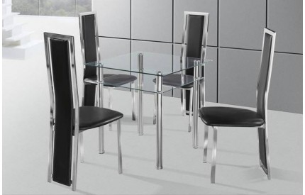 Square Glass Dining Table Chrome