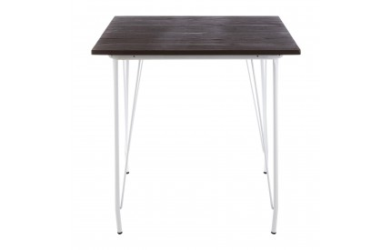 Precinct Table White Metal and Elm Wood