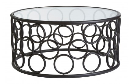 Antalya Coffee Table Round Black Metal Frame / Glass Top
