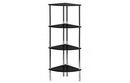 Corner Shelf Unit 4 Tier Black High Gloss Chrome Finish Legs