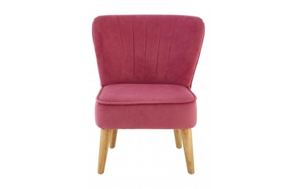 Mia Kids Chair Pink Velvet Natural Wood Legs