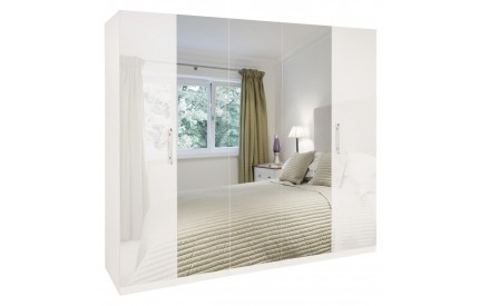 Charms High Gloss White 5 Door Mirrored Wardrobe