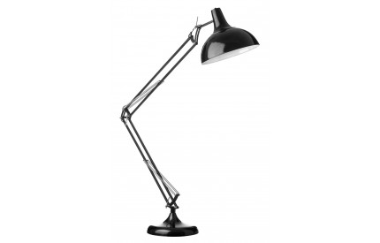 Study Floor Lamp Black Metal Fully Adjustable