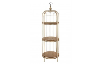Mantis Shelf Unit Birdcage / 3 Tiers Champagne Gold Metal
