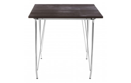 Precinct Table Chrome Metal and Elm Wood