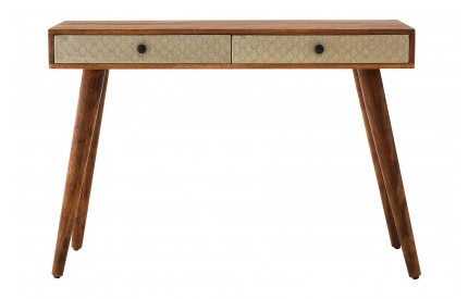 Rolo Console Table 2 Drawer Acacia Wood / Metal