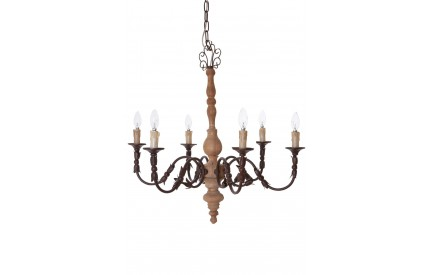 Paulette Chandelier 6 Arm Wood / Metal