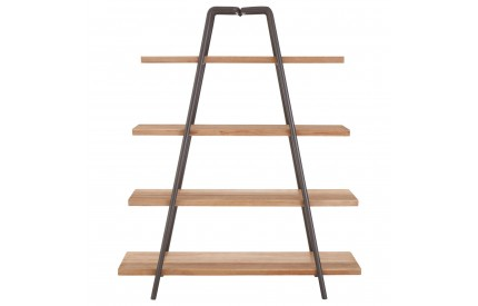 Trinity 4 Tier Shelf Unit Solid Fir Wood/Iron