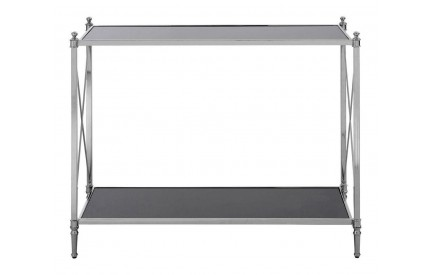 Hoffmann Console Table Black Mirrored Glass Silver Finish Frame