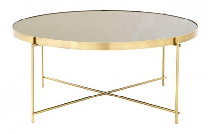Premium Coffee Table Black Mirror Brushed Bronze