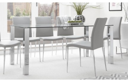 160cm Clear Glass Dining Table Large Steel Legs