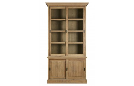 Martins Cabinet Aged Grey American Oak Sliding Doors Glass
