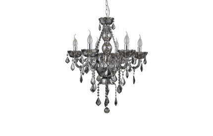 Murano 6 Bulb Chandelier Smoked Chrome/Smoked Crystal