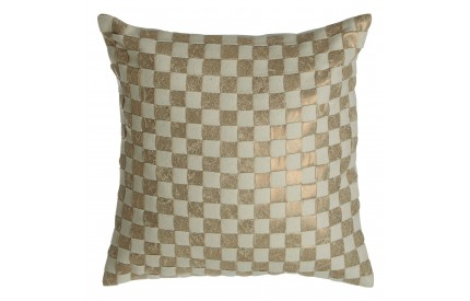 Buckingham Townhouse Cushion Checkerboard Design Cream / Gold Wool Mix