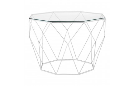 Kashti Coffee Table Octagonal Stainless Steel Clear Tempered Glass