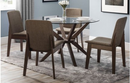 Chelsea Clear Glass Cross Base Walnut Dining Set