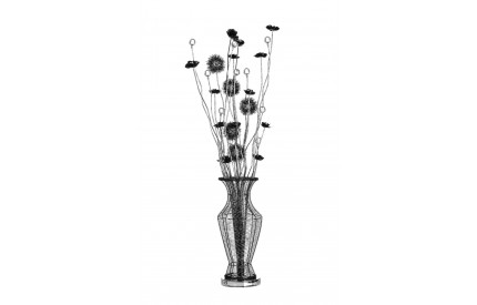 Flower Lamp Black Aluminium/Crystal Decoration