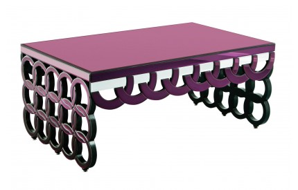 Modena Coffee Table Purple Mirrored Glass
