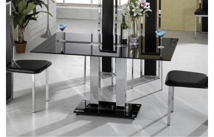 Eternal Dining Table Chrome & Black