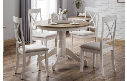 Davenport Round Oak White Dining Set